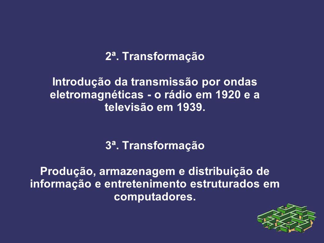 2ª. Transformação Introdução da transmissão por ondas eletromagnéticas - o rádio em 1920 e a televisão em 1939. 3ª. Transformação Produção, armazenage