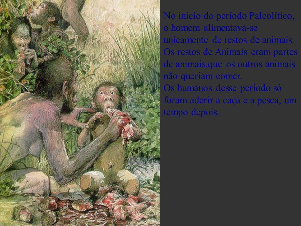 No inicío do período Paleolítico, o homem alimentava-se unicamente de restos de animais. Os restos de Animais eram partes de animais,que os outros ani