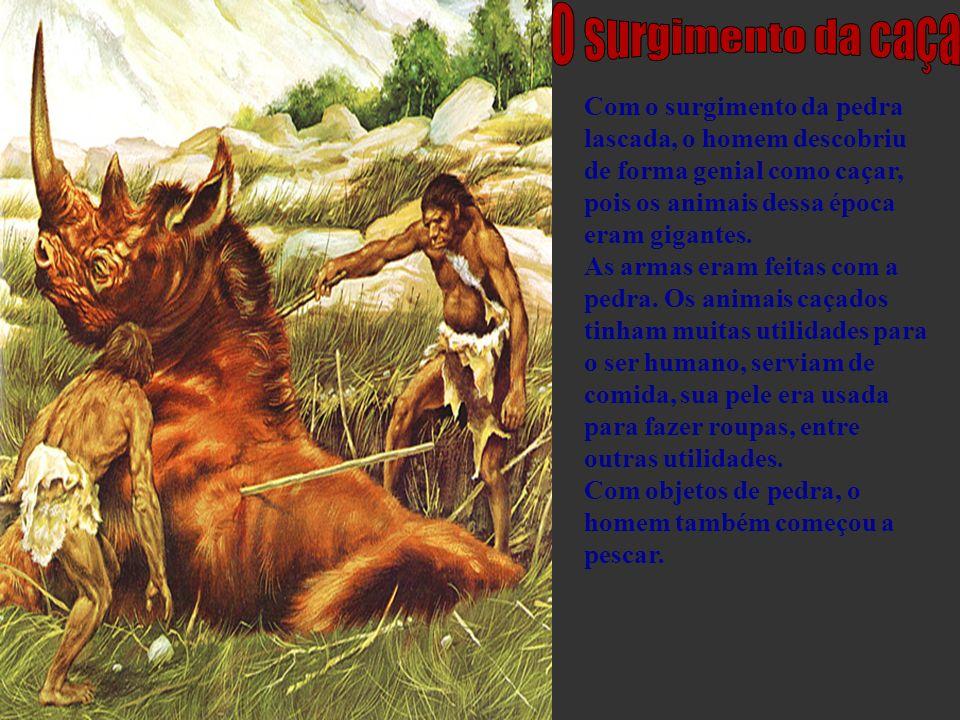Com o surgimento da pedra lascada, o homem descobriu de forma genial como caçar, pois os animais dessa época eram gigantes. As armas eram feitas com a