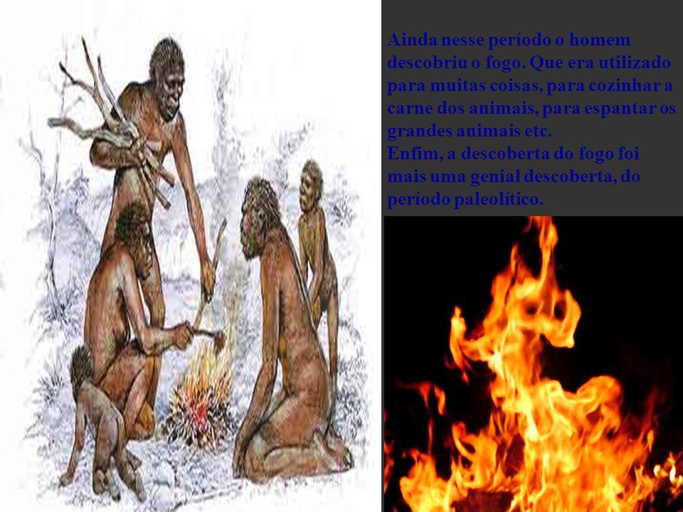 Ainda nesse período o homem descobriu o fogo. Que era utilizado para muitas coisas, para cozinhar a carne dos animais, para espantar os grandes animai