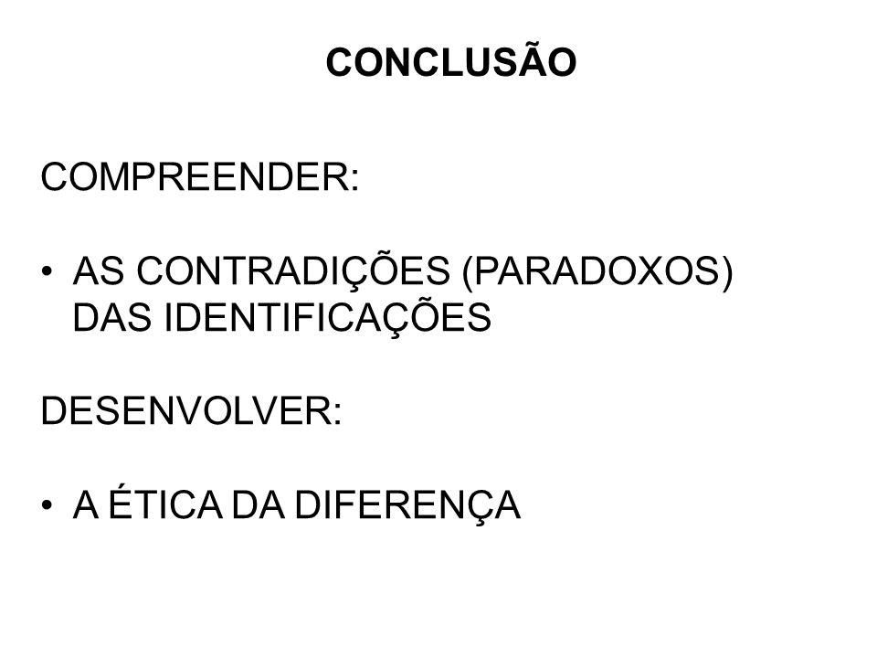 COMPREENDER: AS CONTRADIÇÕES (PARADOXOS) DAS IDENTIFICAÇÕES DESENVOLVER: A ÉTICA DA DIFERENÇA CONCLUSÃO