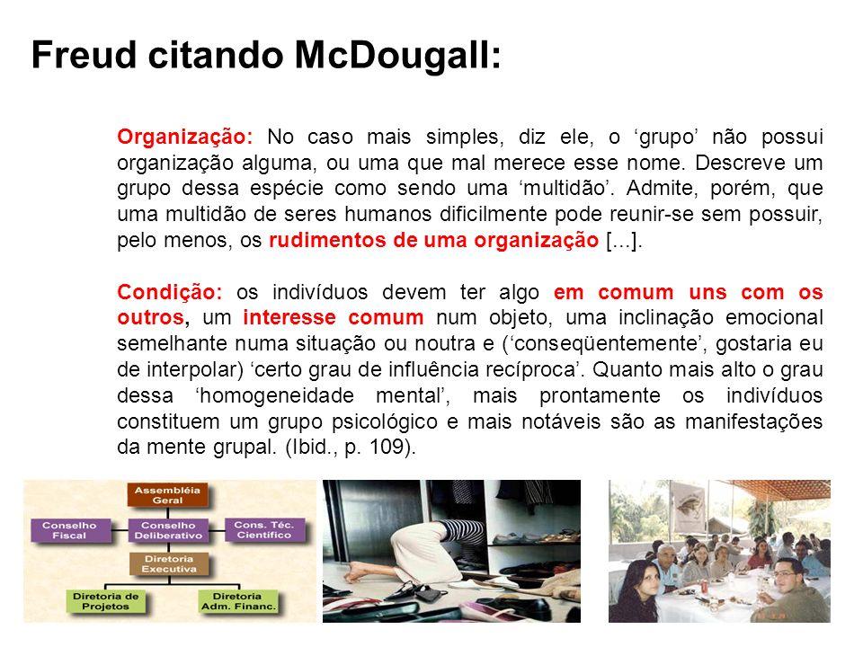 Freud citando McDougall: Organização: No caso mais simples, diz ele, o grupo não possui organização alguma, ou uma que mal merece esse nome. Descreve