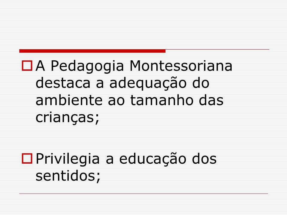 A Pedagogia Montessoriana destaca a adequação do ambiente ao tamanho das crianças; Privilegia a educação dos sentidos;