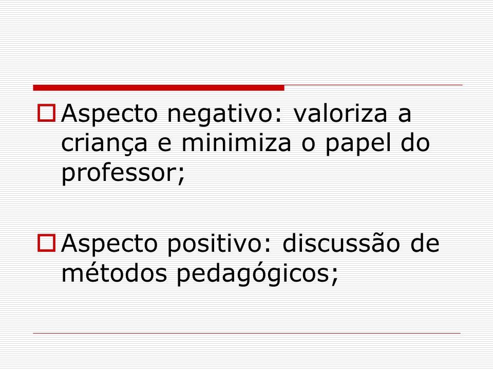 Aspecto negativo: valoriza a criança e minimiza o papel do professor; Aspecto positivo: discussão de métodos pedagógicos;