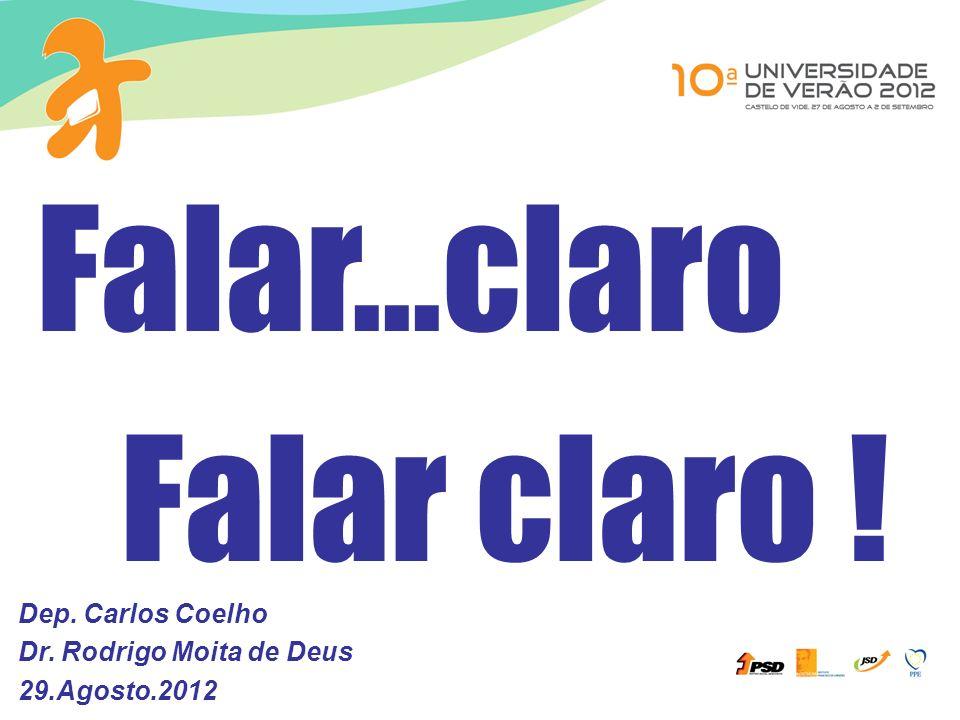 Dep. Carlos Coelho Dr. Rodrigo Moita de Deus 29.Agosto.2012 Falar...claro Falar claro !