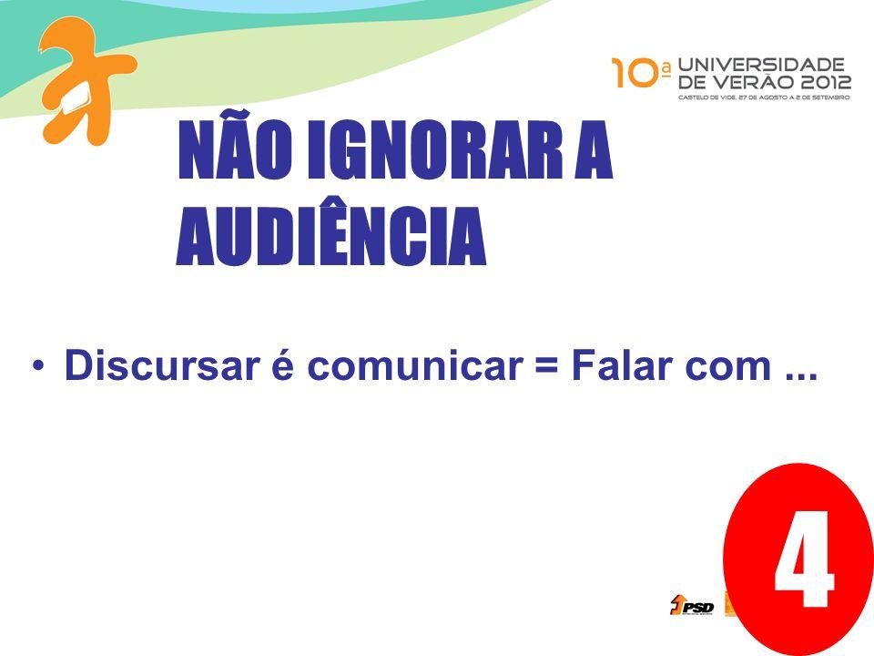 4 Discursar é comunicar = Falar com... NÃO IGNORAR A AUDIÊNCIA