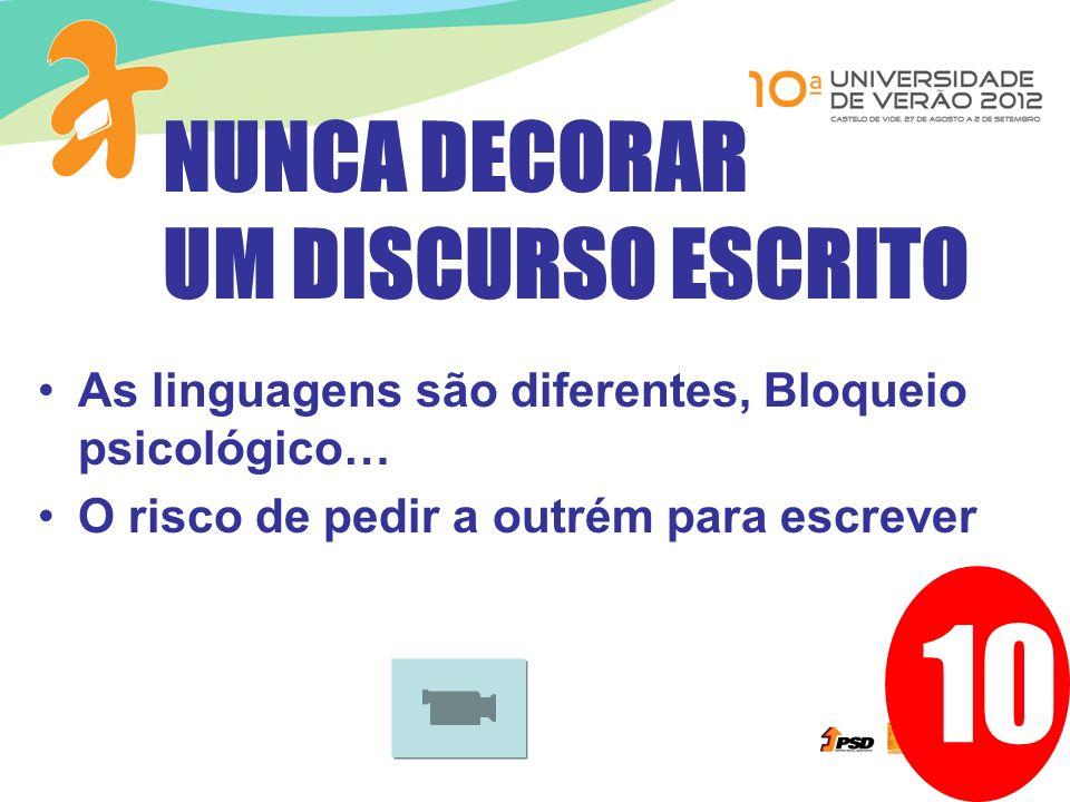 10 As linguagens são diferentes, Bloqueio psicológico… O risco de pedir a outrém para escrever NUNCA DECORAR UM DISCURSO ESCRITO