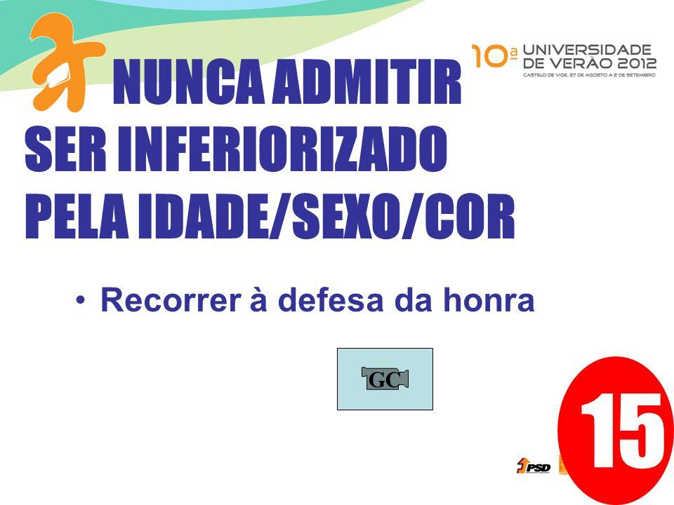15 Recorrer à defesa da honra NUNCA ADMITIR SER INFERIORIZADO PELA IDADE/SEXO/COR GC