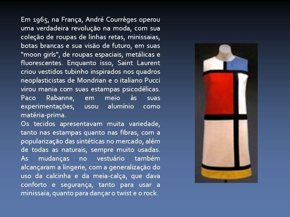 Em 1965, na França, André Courrèges operou uma verdadeira revolução na moda, com sua coleção de roupas de linhas retas, minissaias, botas brancas e su