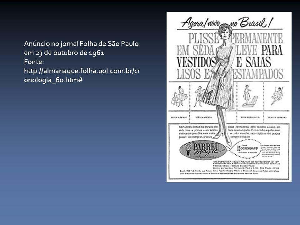 Anúncio no jornal Folha de São Paulo em 23 de outubro de 1961 Fonte: http://almanaque.folha.uol.com.br/cr onologia_60.htm#