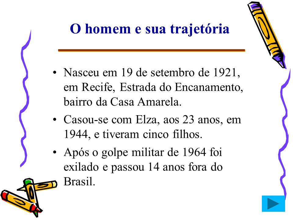 O homem e sua trajetória Nasceu em 19 de setembro de 1921, em Recife, Estrada do Encanamento, bairro da Casa Amarela. Casou-se com Elza, aos 23 anos,