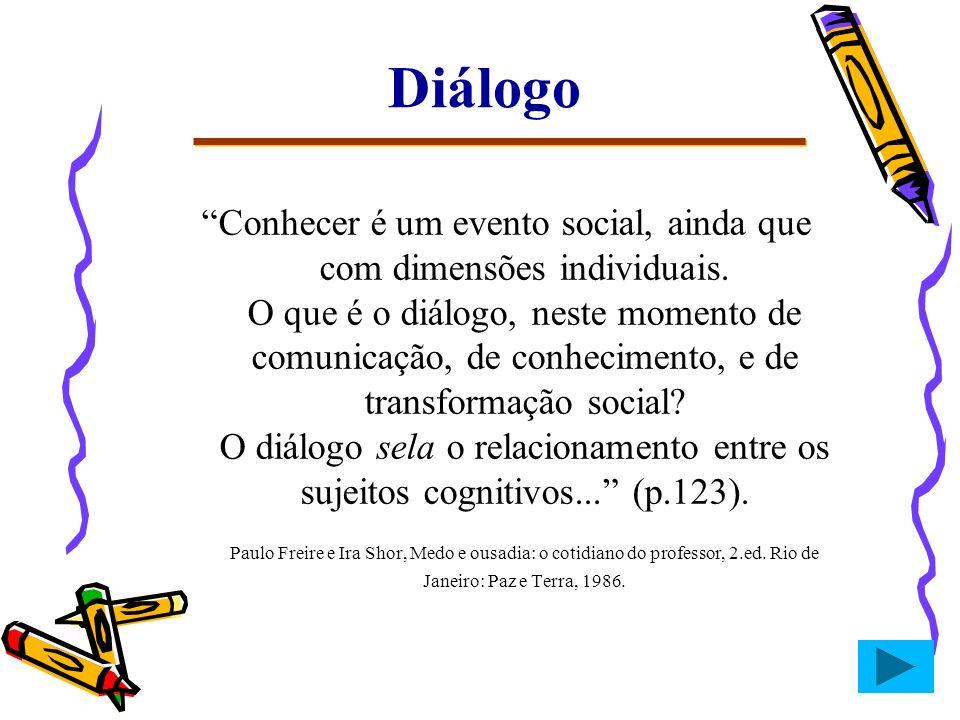 Diálogo Conhecer é um evento social, ainda que com dimensões individuais. O que é o diálogo, neste momento de comunicação, de conhecimento, e de trans
