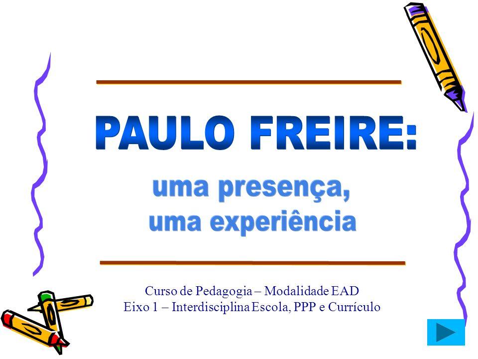 Curso de Pedagogia – Modalidade EAD Eixo 1 – Interdisciplina Escola, PPP e Currículo