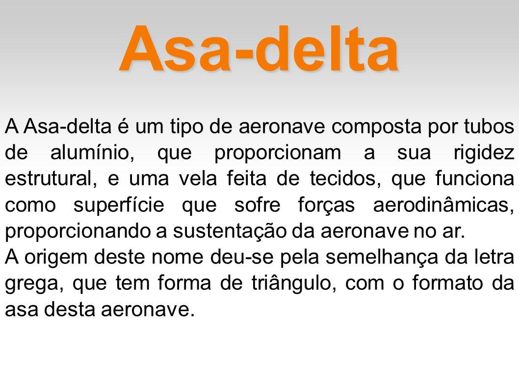 Asa-delta A Asa-delta é um tipo de aeronave composta por tubos de alumínio, que proporcionam a sua rigidez estrutural, e uma vela feita de tecidos, qu
