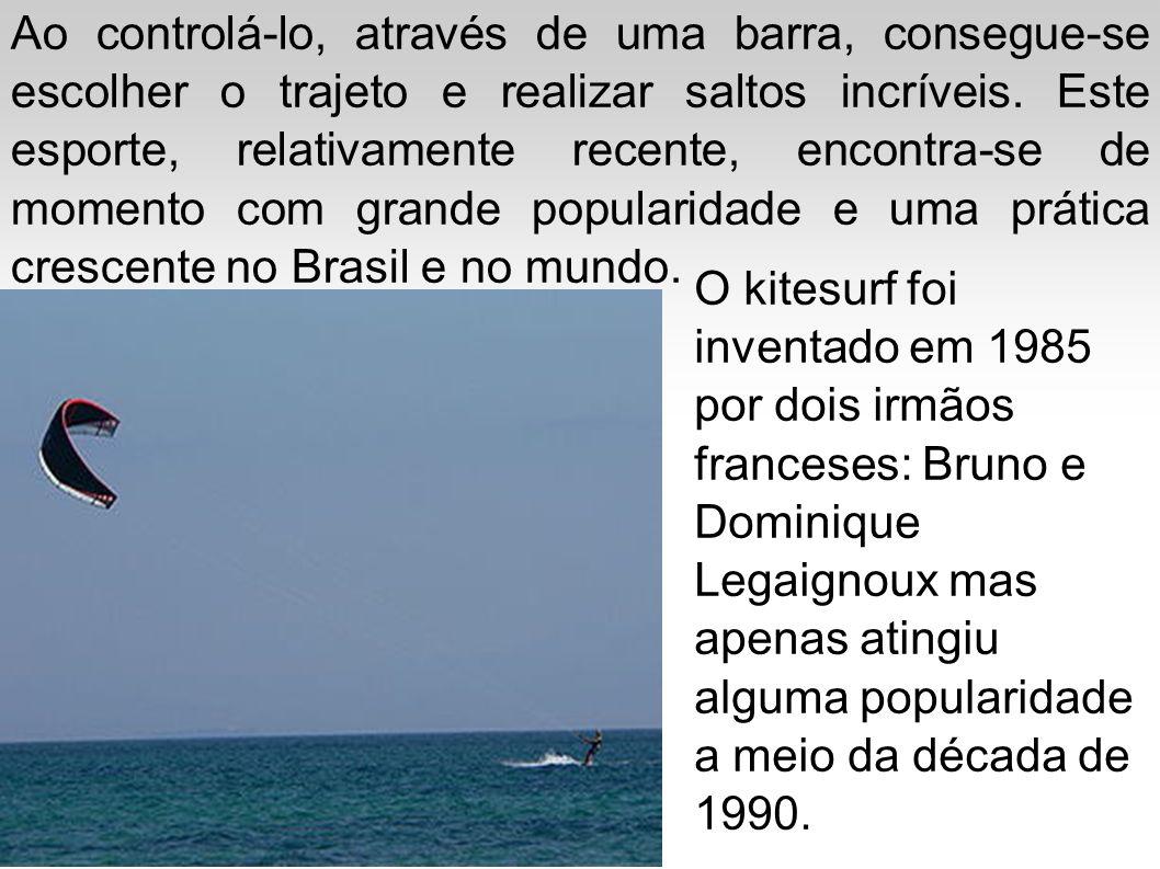 O kitesurf foi inventado em 1985 por dois irmãos franceses: Bruno e Dominique Legaignoux mas apenas atingiu alguma popularidade a meio da década de 19