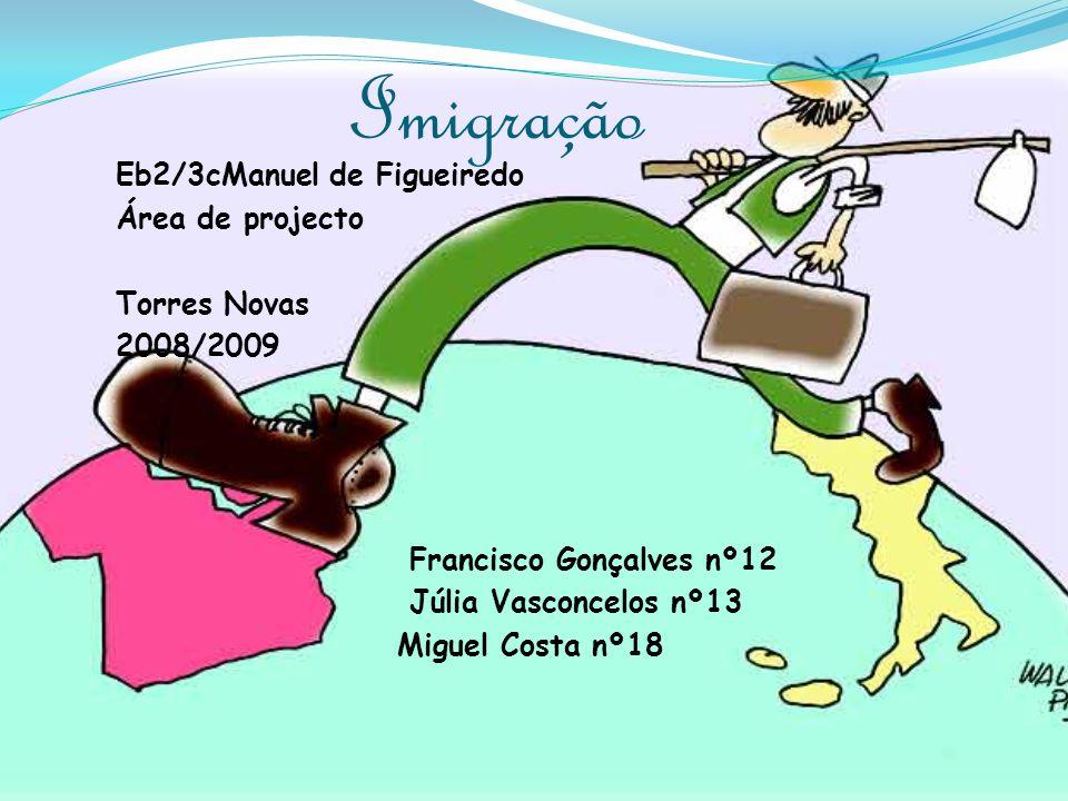 Imigração Eb2/3cManuel de Figueiredo Área de projecto Torres Novas 2008/2009 Francisco Gonçalves nº12 Júlia Vasconcelos nº13 Miguel Costa nº18