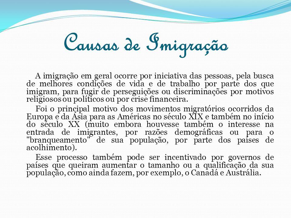 Causas de Imigração A imigração em geral ocorre por iniciativa das pessoas, pela busca de melhores condições de vida e de trabalho por parte dos que i