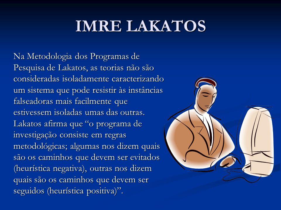 IMRE LAKATOS Na Metodologia dos Programas de Pesquisa de Lakatos, as teorias não são consideradas isoladamente caracterizando um sistema que pode resi