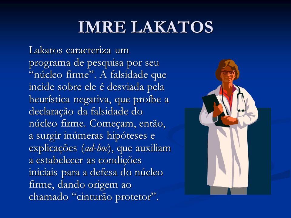 IMRE LAKATOS Lakatos caracteriza um programa de pesquisa por seu núcleo firme. A falsidade que incide sobre ele é desviada pela heurística negativa, q
