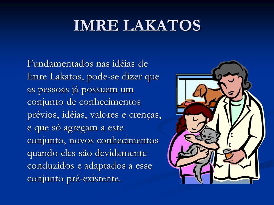 IMRE LAKATOS Fundamentados nas idéias de Imre Lakatos, pode-se dizer que as pessoas já possuem um conjunto de conhecimentos prévios, idéias, valores e