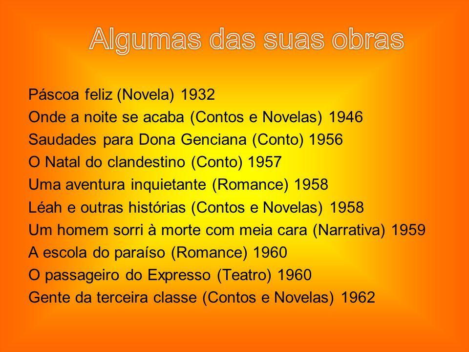 Páscoa feliz (Novela) 1932 Onde a noite se acaba (Contos e Novelas) 1946 Saudades para Dona Genciana (Conto) 1956 O Natal do clandestino (Conto) 1957