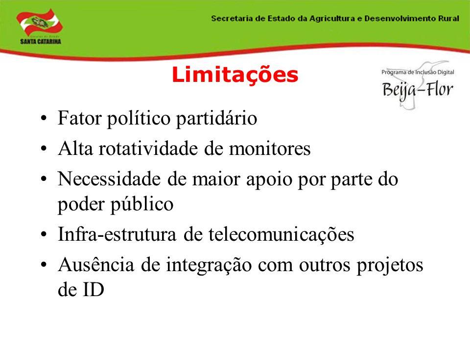 Limitações Fator político partidário Alta rotatividade de monitores Necessidade de maior apoio por parte do poder público Infra-estrutura de telecomun
