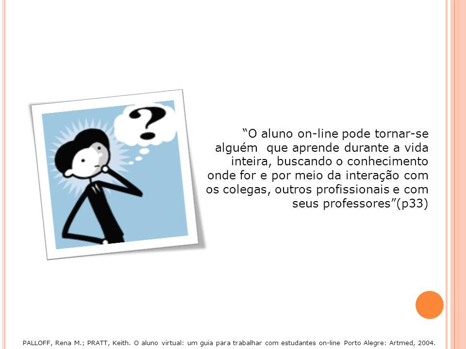 O aluno on-line pode tornar-se alguém que aprende durante a vida inteira, buscando o conhecimento onde for e por meio da interação com os colegas, out