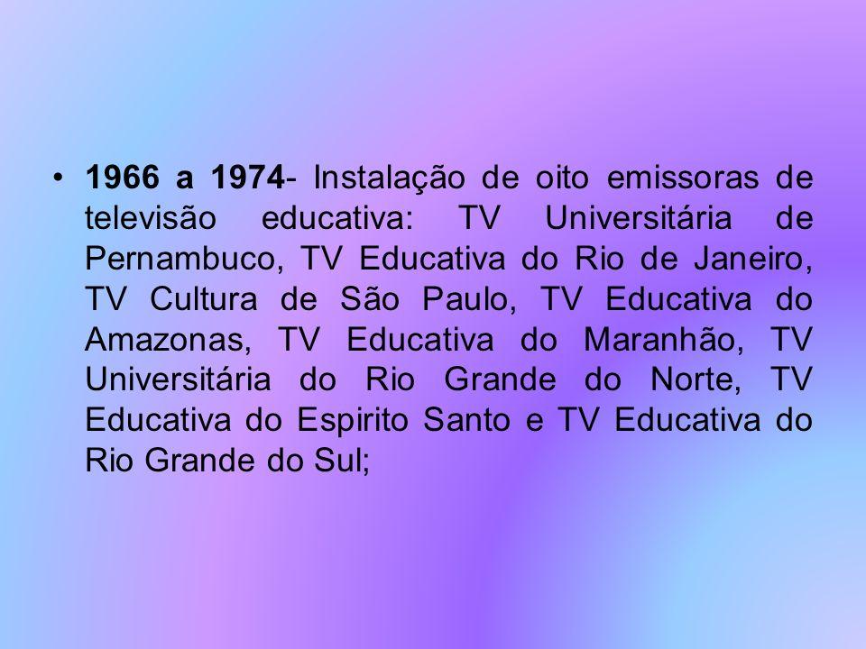 1967- Foi criada a Fundação Padre Anchieta, mantida pelo Estado de São Paulo, (iniciou suas transmissões em 1969); constituída a Feplam (Fundação Educacional Padre Landell de Moura), instituição privada sem fins lucrativos, que promove a educação de adultos através de tele-educação por multimeios;