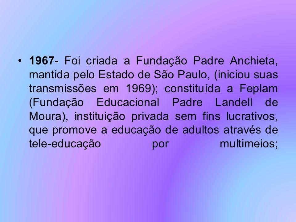 1978- Lançado o Telecurso de 2º Grau, pela Fundação Padre Anchieta (TV Cultura/SP) e Fundação Roberto Marinho, com programas televisivos apoiados por fascículos impressos; 1991- A Fundação Roquete Pinto, a Secretaria Nacional de Educação Básica e secretarias estaduais de Educação implantam o Programa de Atualização de Docentes, que em segunda fase, o projeto ganha o titulo de Um salto para o futuro ; 1992- foi criada a Universidade Aberta de Brasília (Lei 403/92).