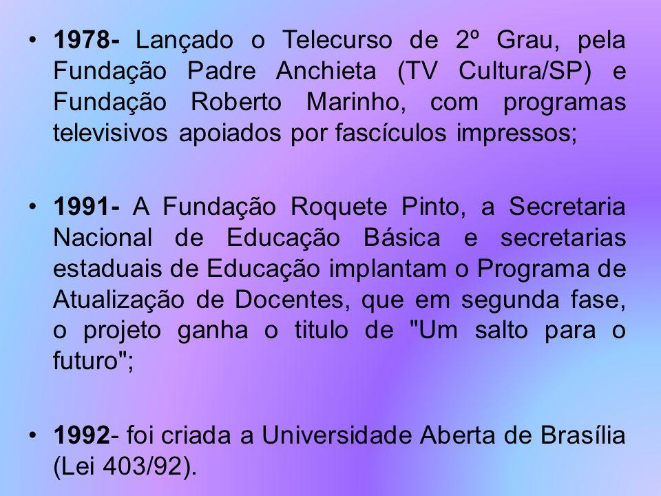 1978- Lançado o Telecurso de 2º Grau, pela Fundação Padre Anchieta (TV Cultura/SP) e Fundação Roberto Marinho, com programas televisivos apoiados por