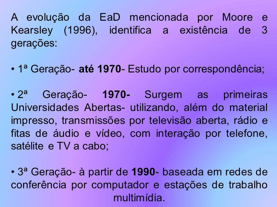 A evolução da EaD mencionada por Moore e Kearsley (1996), identifica a existência de 3 gerações: 1ª Geração- até 1970- Estudo por correspondência; 2ª