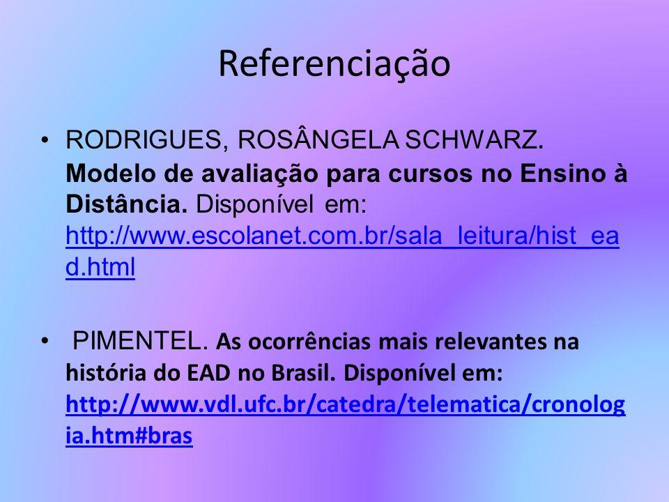 Referenciação RODRIGUES, ROSÂNGELA SCHWARZ. Modelo de avaliação para cursos no Ensino à Distância. Disponível em: http://www.escolanet.com.br/sala_lei