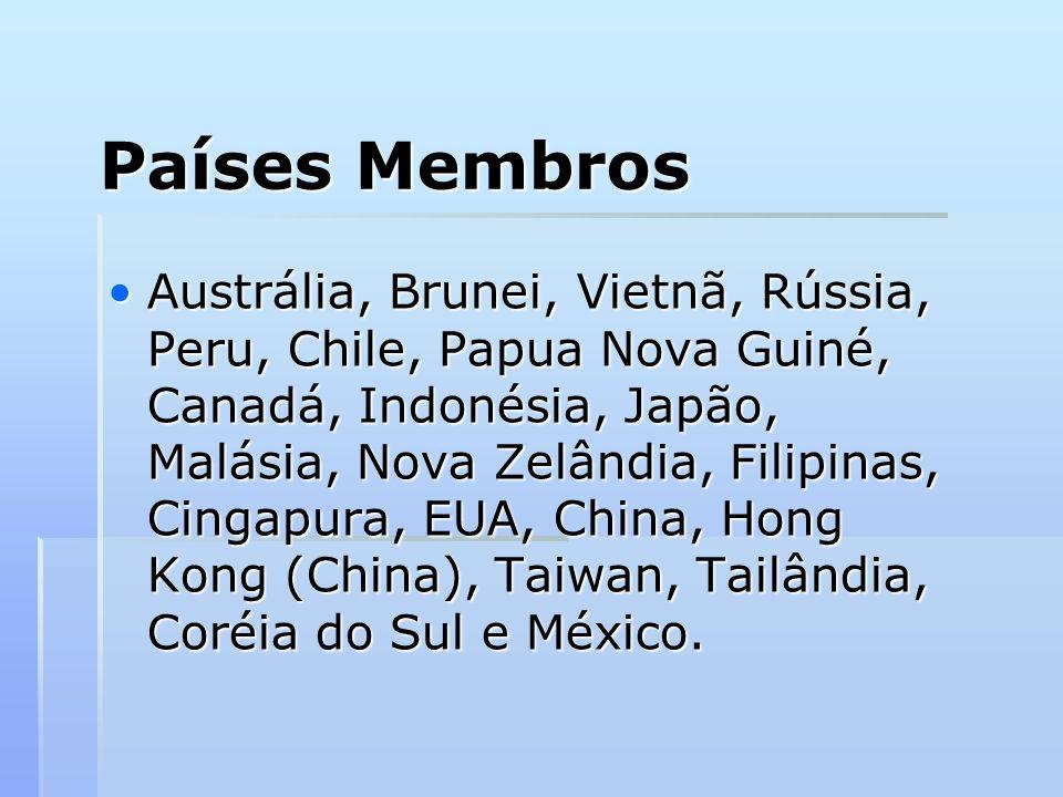 Países Membros Austrália, Brunei, Vietnã, Rússia, Peru, Chile, Papua Nova Guiné, Canadá, Indonésia, Japão, Malásia, Nova Zelândia, Filipinas, Cingapur