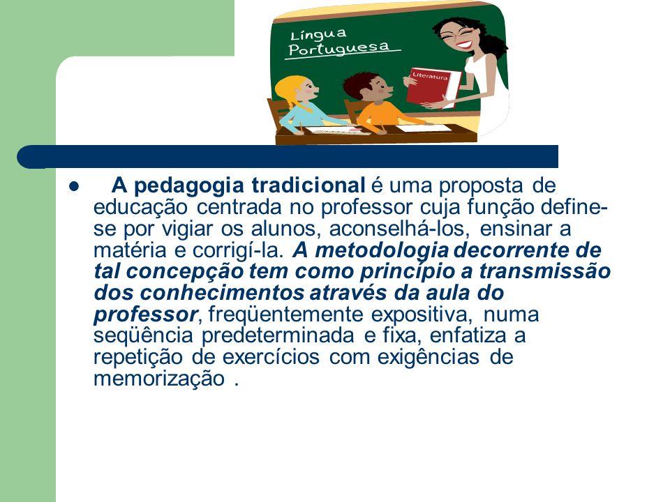 A pedagogia tradicional é uma proposta de educação centrada no professor cuja função define- se por vigiar os alunos, aconselhá-los, ensinar a matéria e corrigí-la.