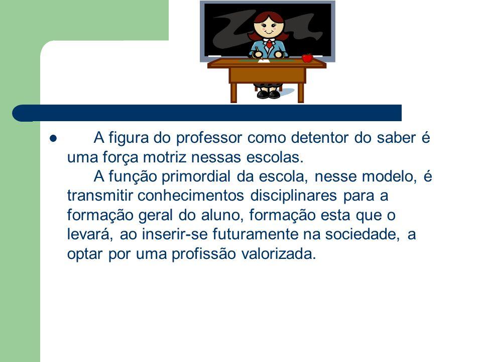 A figura do professor como detentor do saber é uma força motriz nessas escolas.