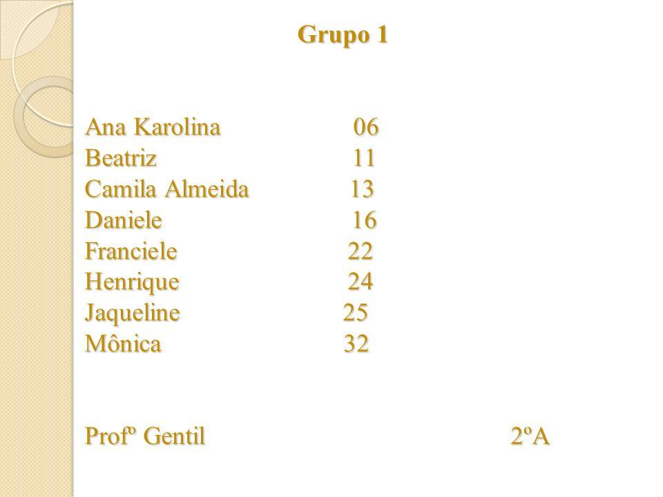 Grupo 1 Ana Karolina 06 Beatriz 11 Camila Almeida 13 Daniele 16 Franciele 22 Henrique 24 Jaqueline 25 Mônica 32 Profº Gentil 2ºA Grupo 1 Ana Karolina