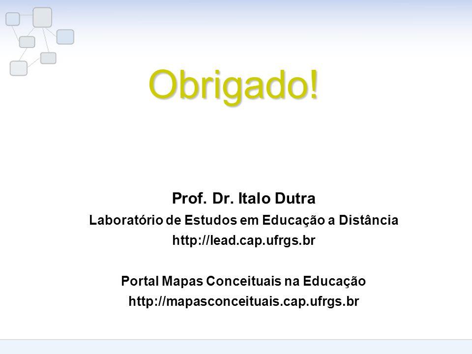 Obrigado! Prof. Dr. Italo Dutra Laboratório de Estudos em Educação a Distância http://lead.cap.ufrgs.br Portal Mapas Conceituais na Educação http://ma