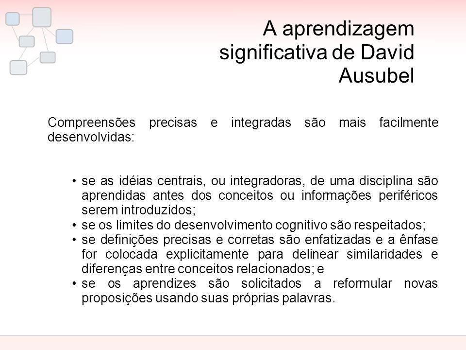A aprendizagem significativa de David Ausubel Compreensões precisas e integradas são mais facilmente desenvolvidas: se as idéias centrais, ou integrad