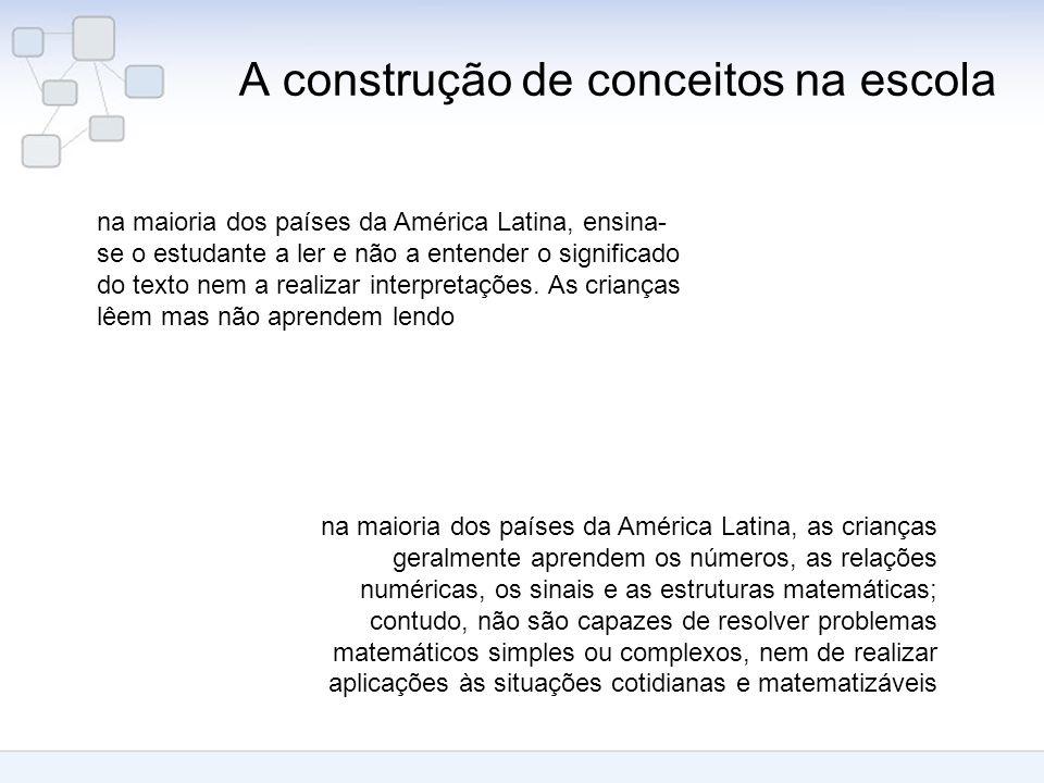 A construção de conceitos na escola na maioria dos países da América Latina, ensina- se o estudante a ler e não a entender o significado do texto nem