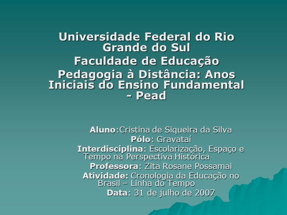 Universidade Federal do Rio Grande do Sul Faculdade de Educação Pedagogia à Distância: Anos Iniciais do Ensino Fundamental - Pead Aluno:Cristina de Si