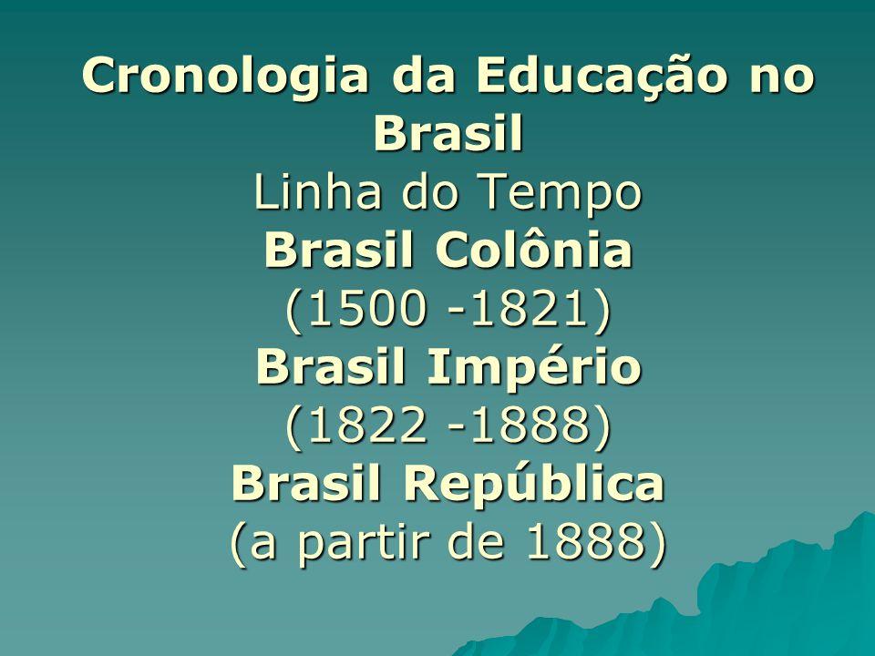Brasil Colônia (1500 a 1821) Fé, Lei, Rei (Início da colonização) Fé, Lei, Rei (Início da colonização) Catequese (A partir da chegada dos portugueses) Catequese (A partir da chegada dos portugueses) Educação Jesuíta (1549) Educação Jesuíta (1549) Expulsão dos Jesuítas (1750) Expulsão dos Jesuítas (1750) Aulas régias (1759) Aulas régias (1759) Elitismo (É presença em todos os períodos) Elitismo (É presença em todos os períodos)