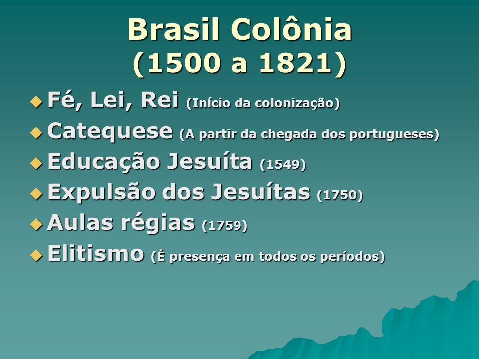 Brasil Colônia (1500 a 1821) Fé, Lei, Rei (Início da colonização) Fé, Lei, Rei (Início da colonização) Catequese (A partir da chegada dos portugueses)