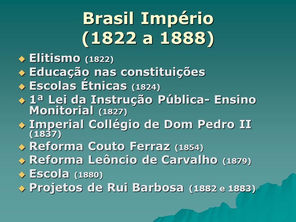 Brasil Império (1822 a 1888) Elitismo (1822) Elitismo (1822) Educação nas constituições Educação nas constituições Escolas Étnicas (1824) Escolas Étni