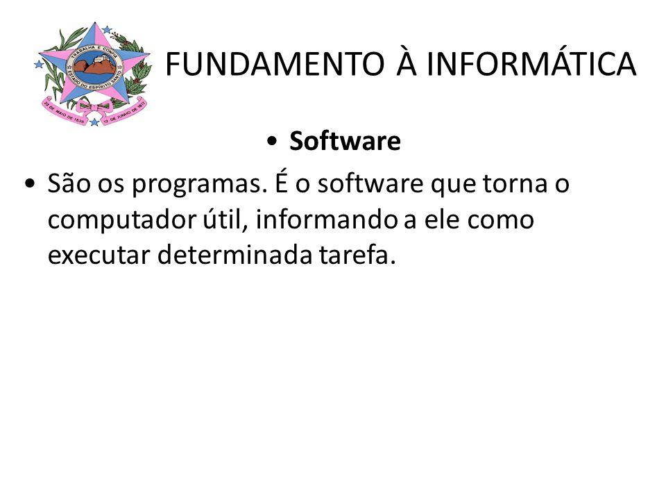 FUNDAMENTO À INFORMÁTICA Software São os programas. É o software que torna o computador útil, informando a ele como executar determinada tarefa.