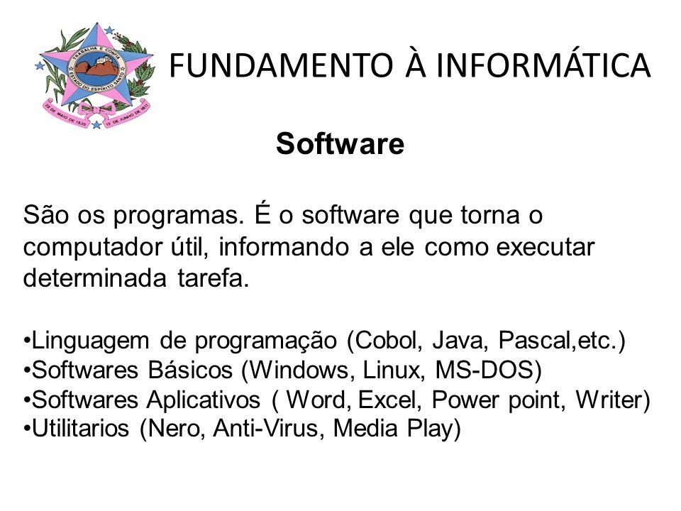 FUNDAMENTO À INFORMÁTICA Software São os programas. É o software que torna o computador útil, informando a ele como executar determinada tarefa. Lingu