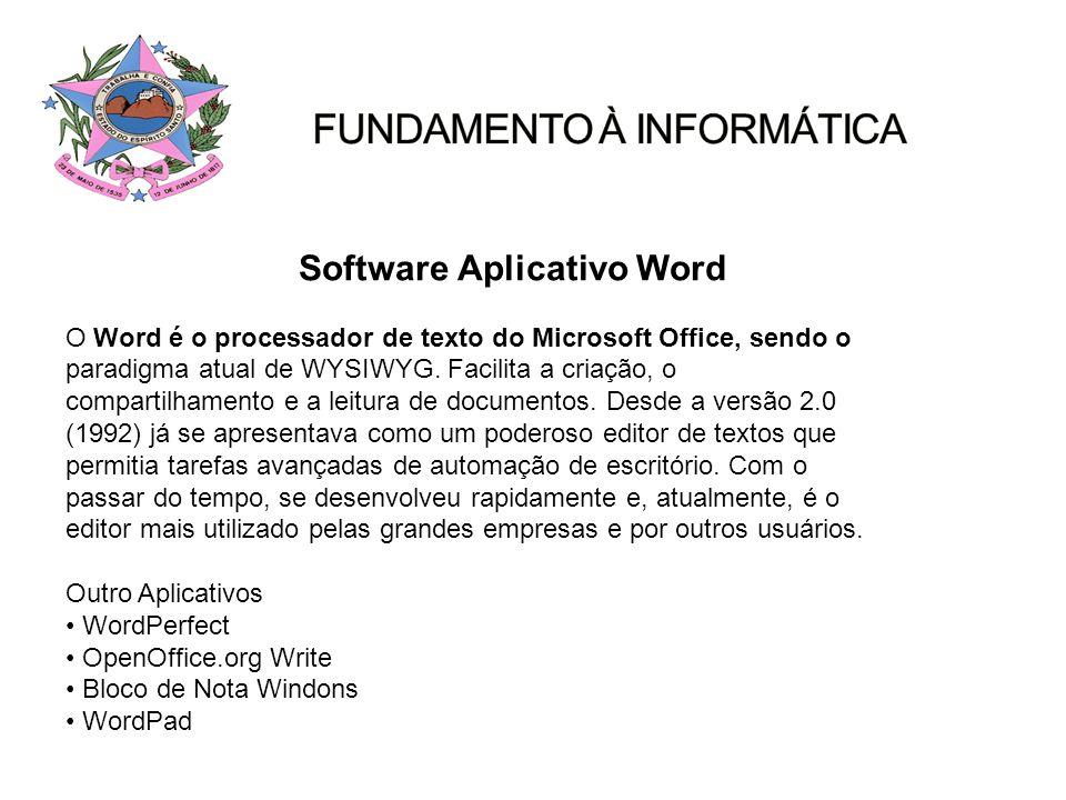 Software Aplicativo Word O Word é o processador de texto do Microsoft Office, sendo o paradigma atual de WYSIWYG. Facilita a criação, o compartilhamen