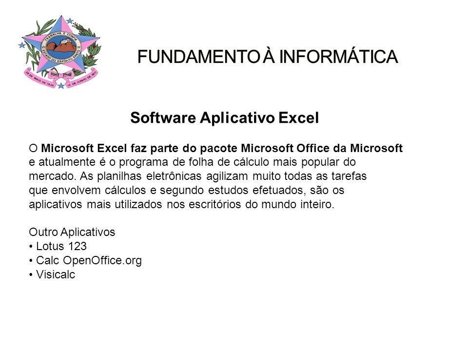 Software Aplicativo Excel O Microsoft Excel faz parte do pacote Microsoft Office da Microsoft e atualmente é o programa de folha de cálculo mais popul