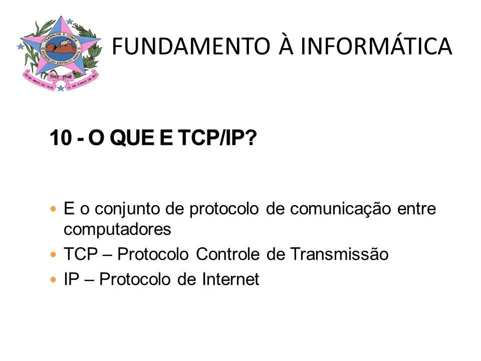 E o conjunto de protocolo de comunicação entre computadores TCP – Protocolo Controle de Transmissão IP – Protocolo de Internet FUNDAMENTO À INFORMÁTIC
