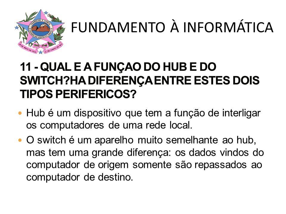 Hub é um dispositivo que tem a função de interligar os computadores de uma rede local. O switch é um aparelho muito semelhante ao hub, mas tem uma gra