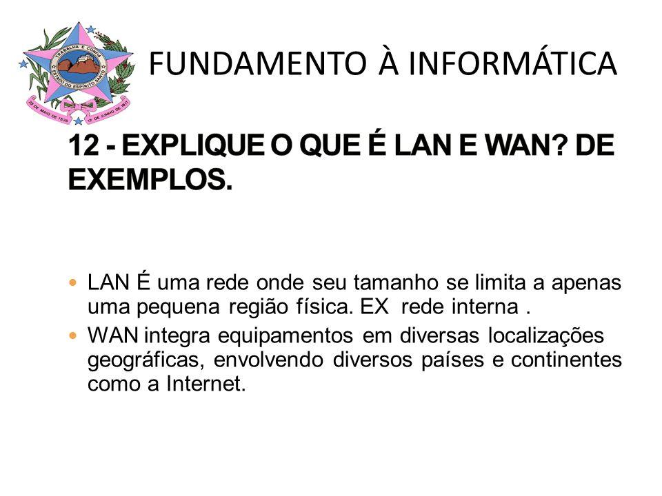 LAN É uma rede onde seu tamanho se limita a apenas uma pequena região física. EX rede interna. WAN integra equipamentos em diversas localizações geogr